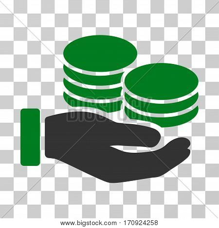 Salary Hand icon. Vector illustration style is flat iconic bicolor symbol green and gray colors transparent background. Designed for web and software interfaces.