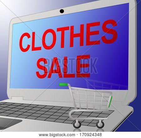 Clothes Sale Shows Cheap Fashion 3D Illustration