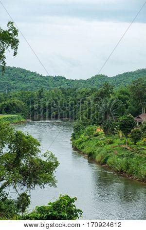 Curve of Kwai Noi river near the Death Railway in Kanchanaburi province Thailand.