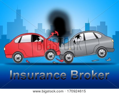Insurance Broker Shows Car Policy 3D Illustration