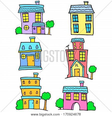 Colorful house set vector art collection stock