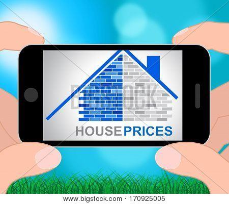 House Prices Represents Residential Charge 3D Illustration