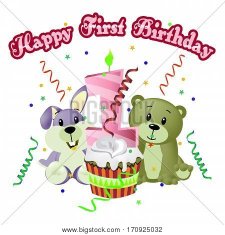 Happy First Birthday Showing Happiness Celebrate 3D Illustration