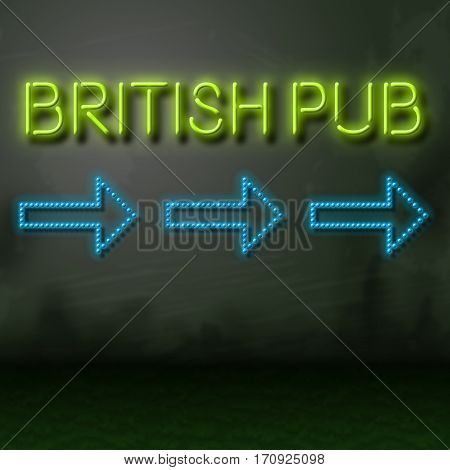British Pub Sign Shows English Bar Nightlife