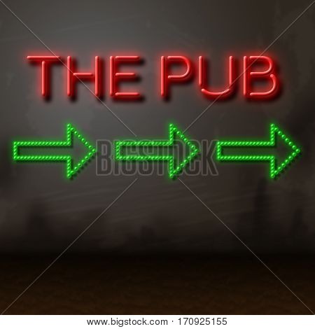 Pub Neon Sign Locates Bar Tavern And Nightlife