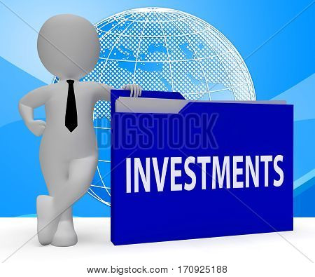 Investments Folder Meaning Roi Portfolio 3D Rendering