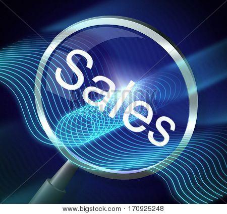 Sales Magnifier Indicates E-commerce Retail 3D Rendering