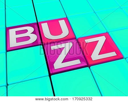 Buzz Blocks Represents Public Relations 3D Illustration