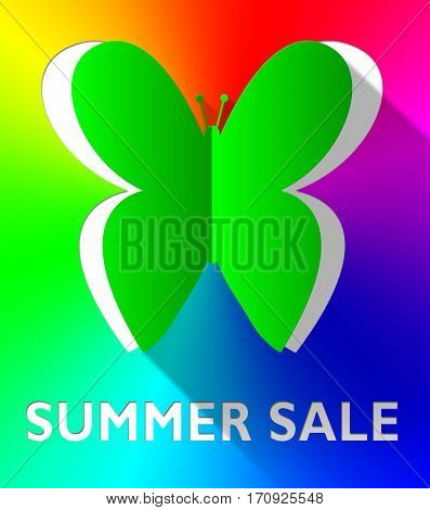 Summer Sale Butterfly Shows Bargain Offers 3D Illustration