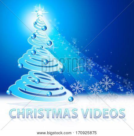 Christmas Videos Shows Xmas Movies 3D Illustration