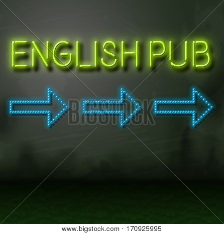 English  Pub Sign Shows British Bar Nightlife
