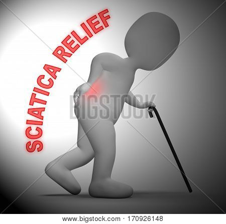 Sciatica Relief Meaning Spinal Pain Easing 3D Rendering