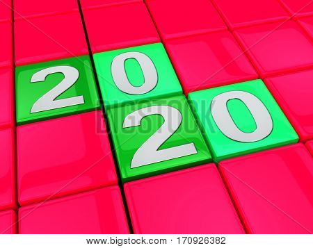 Two Thousand Twenty Indicates New Year 2020 3D Illustration