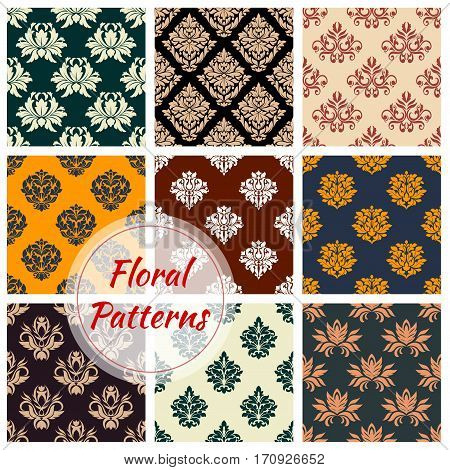 Floral seamless pattern with damask flower ornament. Arabesque scrolls motif for wallpaper, fabric and embellishment design