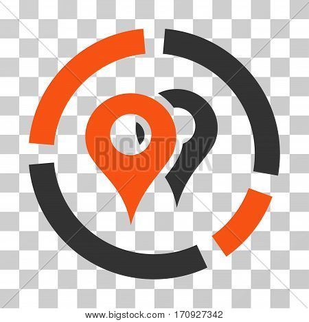Geo Diagram icon. Vector illustration style is flat iconic bicolor symbol orange and gray colors transparent background. Designed for web and software interfaces.