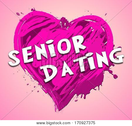Senior Dating Represents Retired Sweetheart 3D Illustration