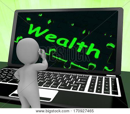 Wealth On Laptop Shows Abundance 3D Rendering