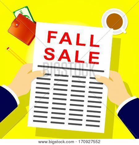 Fall Sale Represents Autumn Commerce 3D Illustration