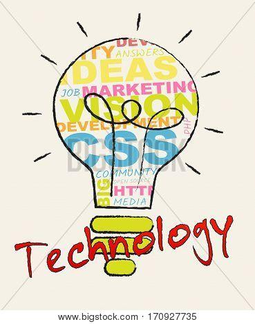Technology Lightbulb Representing High Tech 3D Illustration
