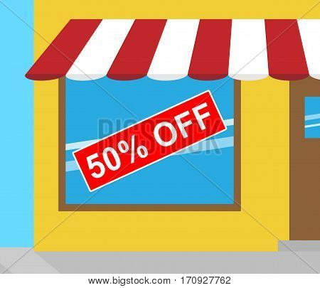 Fifty Percent Off Meaning Sale 50% 3D Illustration