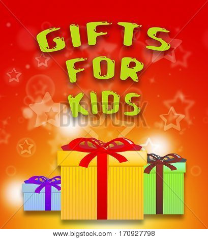 Gifts For Kids Shows Children's Presents 3D Illustration
