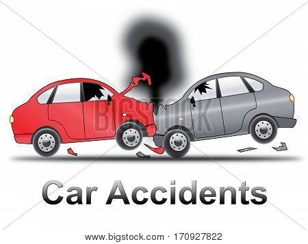 Car Accidents Shows Auto Crash 3D Illustration