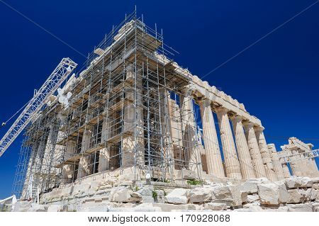 Reconstruction of Parthenon with scaffolding in Acropolis, Athens, Greece
