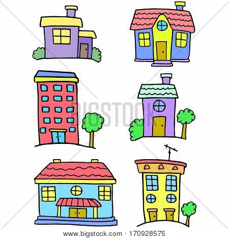 Colorful house set vector art doodles collection stock