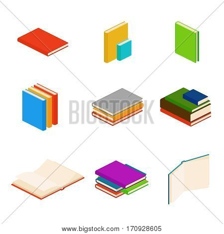 Isometric books, encyclopedia, dictionary, novel, document vector symbols. Color books for education, illustration of stack paper books