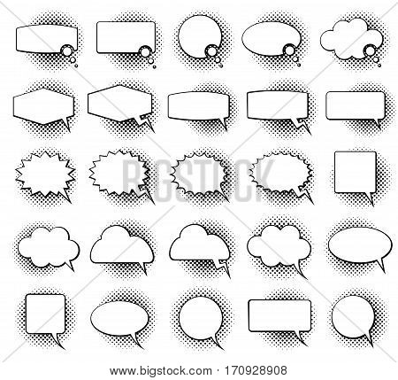 Empty monochrome speech comic text bubbles with halftone dot shadow effect vector set. Speech bubble for dialog, illustration of speech cloud
