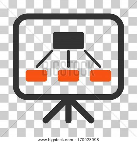 Scheme Demonstration Screen icon. Vector illustration style is flat iconic bicolor symbol orange and gray colors transparent background. Designed for web and software interfaces.