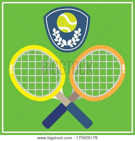 2 colorful tennis racquets with the green tennis ball decorated in a shield shape on green background.
