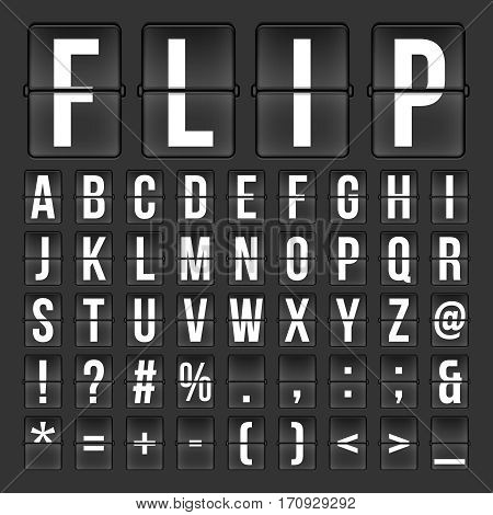 Flip countdown digital calendar clock numbers and letters. vector alphabet, font, airport board arrival symbols. Design of alphabet for airport panel illustration