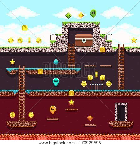 Computer 8 bit pixel video game. Platform and arcade game vector design. Game with layer and stairs illustration