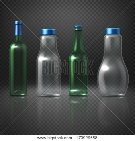 Empty glass vector bottles for alcoholic and nonalcoholic beverages, beer, wine, vodka, juice. Set of bottle container transparent for liquid, illustration of bottle with cap