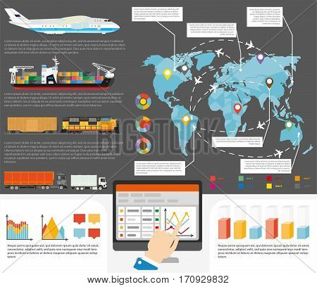 Logistics infographics for international or worldiwde shipment delivery. Vector flat template of world map and shipping cargos and transportation routes with chart graphs and diagram flowcharts