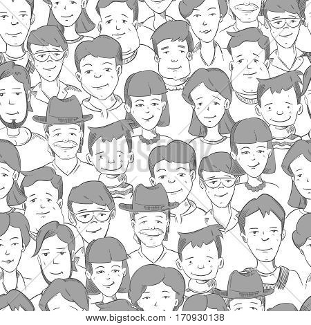 People crowd with many faces, human heads vector seamless background. Cute people faces in crowd. Illustration of hand drawn people