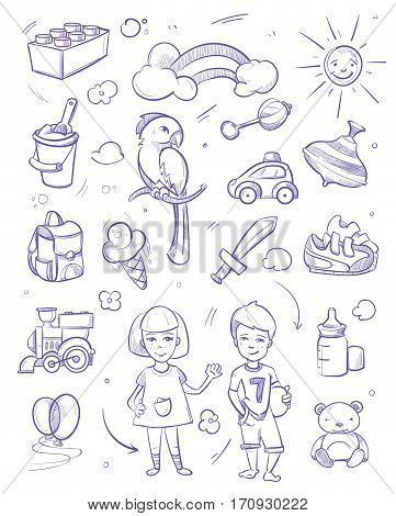 Kids dreams vector background with boy, girl, pets, toys and kids other object. Sketch of ice cream and teddy, illustration drawing sketch kids sword and constructor