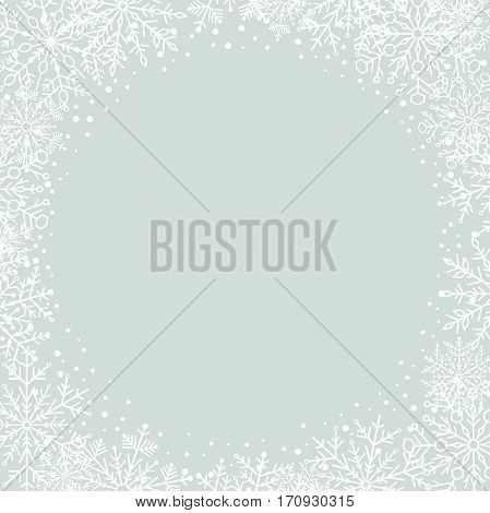 Winter frame with arabesques and snowflakes. Fine greeting card. Light blue and white pattern