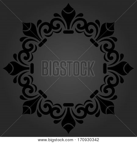Oriental round dark frame with arabesques and floral elements. Floral fine border. Greeting card with place for text