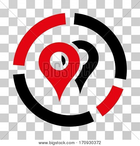 Geo Diagram icon. Vector illustration style is flat iconic bicolor symbol intensive red and black colors transparent background. Designed for web and software interfaces.