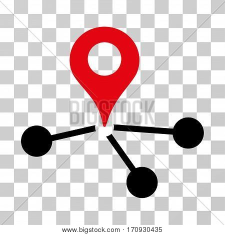 Geo Network icon. Vector illustration style is flat iconic bicolor symbol intensive red and black colors transparent background. Designed for web and software interfaces.