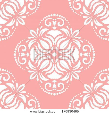 Elegant classic pattern. Seamless abstract background with repeating elements. Pink and white pattern