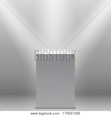 Museum pedestal, white empty 3d podium and spotlights vector illustration. Empty podium or pedestal for museum, 3d, podium or platform exhibition
