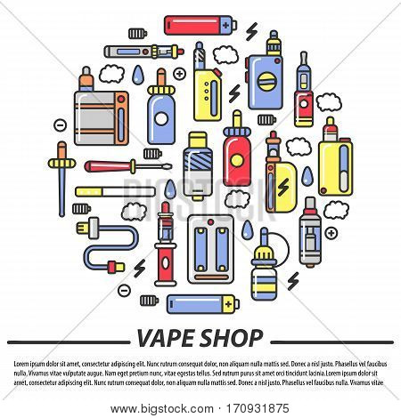 Vape shop smoking infographics or vector poster of modern trendy vaping items and types of shisha, hookah and electronic cigarettes with aroma tobacco cartridges