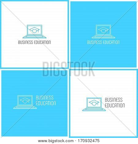 Vector eps logotype or illustration showing business education with computer laptop and graduate hat in outline style