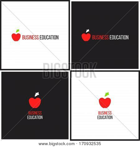Vector eps logotype or illustration showing business education with apple and arrow up