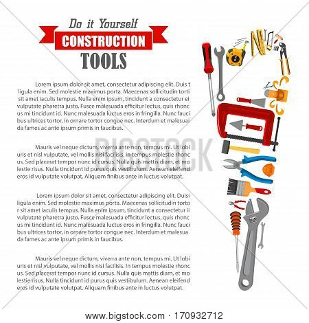 Hand saw silhouette with construction and carpentry tools. DIY poster with hammer, screwdriver, wrench, drill and brush, paint and spanner, pliers and saw, measuring tape, spatula, trowel, jack plane