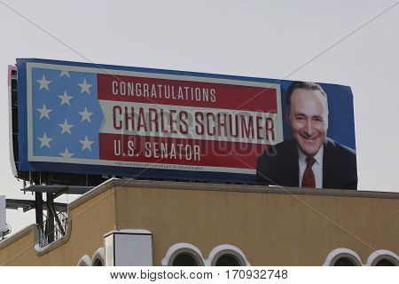 BROOKLYN, NEW YORK - FEBRUARY 9, 2017: Congratulations Charles Schumer U.S. Senator billboard in Brooklyn, NY