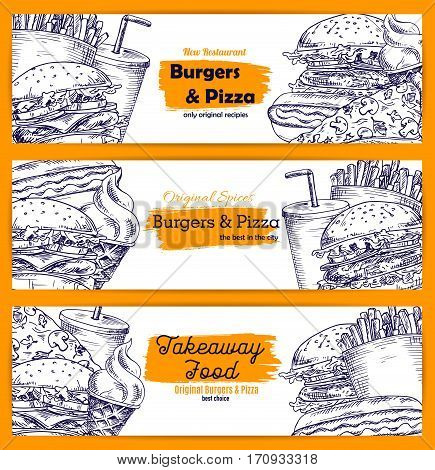 Fast food restaurant takeaway menu banner set. Hamburger, pizza, hot dog, sweet soda drinks, french fries and ice cream cone sketches for cafe menu, food delivery service design